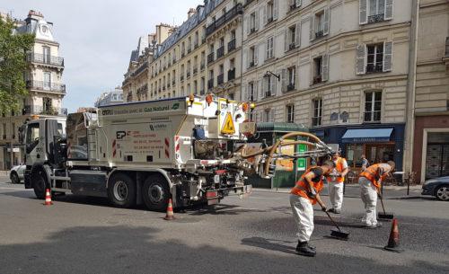 Chantier d'enrobé projeté EP+Avenue de Villiers PARIS 17e